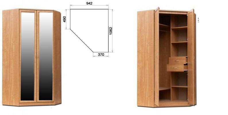 Шкаф угловой 403 с 2- мя зерк.(гарун). интернет-магазин мебе.